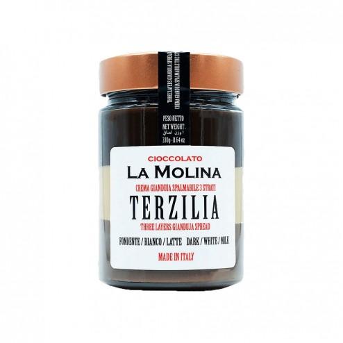 """Gianduja Spread in Jar - 3 Layers of Dark, White, Milk Chocolate - """"Terzilia"""""""