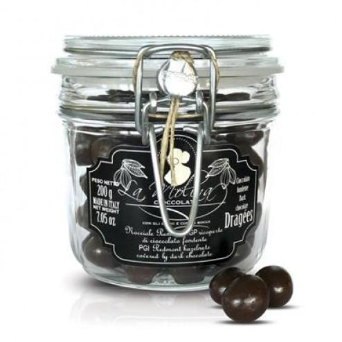 Dragées de noisettes entières enrobées de chocolat noir